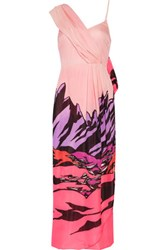 Missoni Draped Printed Silk Crepe Maxi Dress Multi