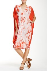 Young Fabulous And Broke Ace V Neck Button Up Hi Lo Dress Orange