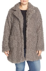 Plus Size Women's Steve Madden Faux Fur Coat Grey