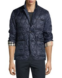 Burberry Gillington Leather Trim Quilted Blazer Navy