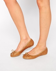 Truffle Collection Woven Ballet Pumps Tan
