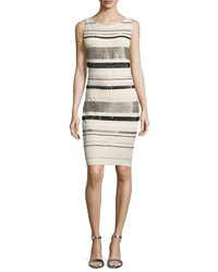 Haute Hippie Embellished Striped Sheath Dress White