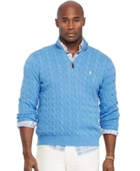 Polo Ralph Lauren Big And Tall Cable Knit Tussah Silk Sweater Holiday Blue