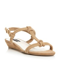 Episode Jazzie Low Wedge Knotted T Bar Sandals Tan
