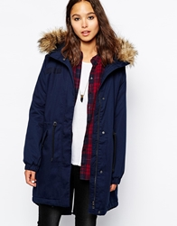 Only Long Line Parka With Faux Fur Hood Navy