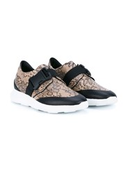 Christopher Kane Floral Lace Sneakers Brown