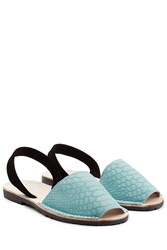Del Rio London Embossed Suede Sandals Blue