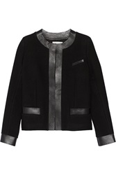 Iro Leather Trimmed Wool Blend Jacket Black