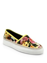 Dolce And Gabbana Leather And Raffia Trimmed Floral Print Canvas Sneakers White Multi