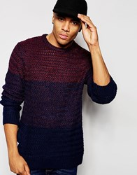 Native Youth Cut And Sew Gradient Knit Jumper Navy
