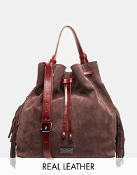 Pauls Boutique Paul's Boutique Cora Leather And Suede Bucket Bag Burgundy