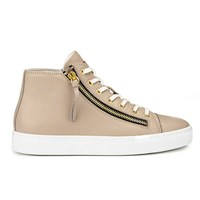 Hugo Women's Nycolette L Leather Hi Top Trainers Light Beige Cream
