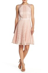 Women's Julia Jordan Pleat Lace Fit And Flare Dress Dust Pink