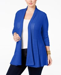Ny Collection Plus Size Pointelle Knit Duster Cardigan Alpha Blue