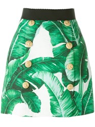 Dolce And Gabbana Banana Leaf Print Brocade Skirt Green