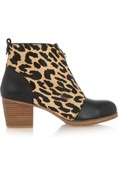Yosi Samra Leather And Leopard Print Calf Hair Ankle Boots Animal Print