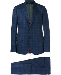 Gucci Checked Wool Blend Suit Blue Red Linen