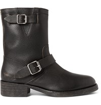 Maison Martin Margiela Shearling Lined Grained Leather Biker Boots Black