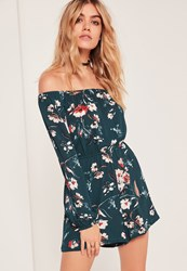 Missguided Long Sleeve Bardot Playsuit Green Floral