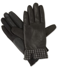 Isotoner Signature Stretch Leather Menswear Hem Tech Touch Gloves Black