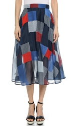 Dkny Colorblock Full Midi Skirt