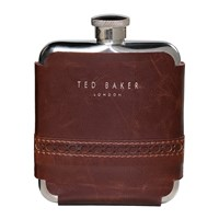 Ted Baker Brogue Hip Flask Walnut