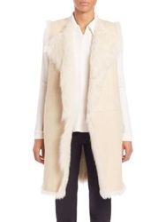 Theory Curako Hollice Long Suede And Fur Vest Ivory Dark Slate