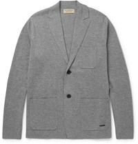 Burberry London Slim Fit Wool And Cashmere Blend Cardigan Gray