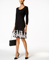 Nine West Fit And Flare Sweater Dress Black Ivory