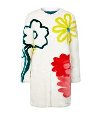 Mira Mikati Happy Flowers Faux Fur Coat Female White