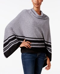 Charter Club Cashmere Striped Poncho Only At Macy's Heather Gray