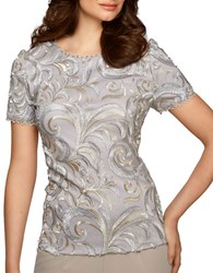 Alex Evenings Scalloped Blouse Silver Gold