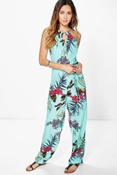 Boohoo High Neck Tropical Print Jumpsuit Turquoise