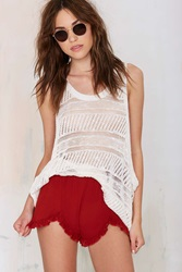 Nasty Gal A.D.D. Crepe Ruffle Shorts Red