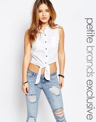 Noisy May Petite Tie Front Shirt White