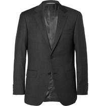 Canali Charcoal Sienna Slim Fit Checked Super 130S Wool Suit Jacket Gray