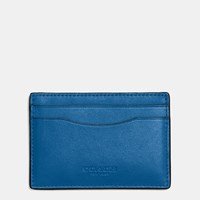 Coach Flat Card Case In Glovetanned Leather Dark Gunmetal Denim