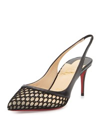 Christian Louboutin Miluna Low Heel Slingback Red Sole Pump Black Women's