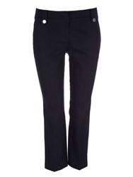 Wallis Navy Button Cropped Trousers