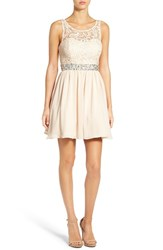 Steppin Out Women's Lace Bodice Fit And Flare Dress Champagne