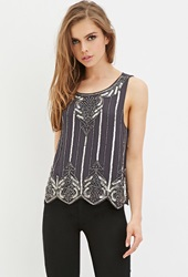 Forever 21 Sequin Chiffon Top Grey Multi