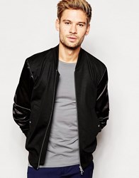 Paul Smith Ps By Bomber Jacket With Sateen Sleeves Black