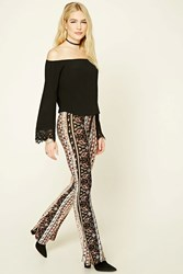 Forever 21 Abstract Paisley Flared Pants Black Burgundy