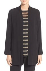 Eileen Fisher Women's Silk Crepe Long Kimono Jacket Black
