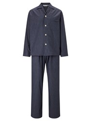 Derek Rose Check Brushed Cotton Pyjamas Navy