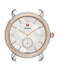Michele Gracile Two Tone Rose Gold Diamond Dial Watch Head 36Mm White