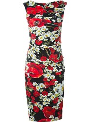 Dolce And Gabbana Daisy And Poppy Print Dress Multicolour