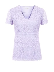 Kaliko Tiered Lace Jersey Top Lilac