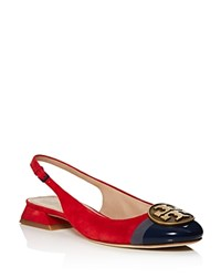 Tory Burch Alistair Slingback Low Heel Pumps Red Gold