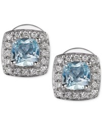 Le Vian Aquamarine 3 8 Ct. T.W. And Diamond 1 10 Ct. T.W. Stud Earrings In 14K White Gold